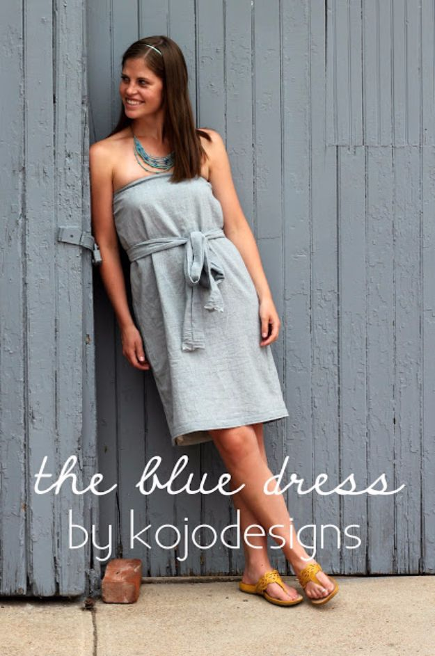 DIY Dresses to Sew for Summer - Strapless Blue Dress - Best Free Patterns For Dress Ideas - Easy and Cheap Clothes to Make for Women and Teens - Step by Step Sewing Projects - Short, Summer, Winter, Fall, Inexpensive DIY Fashion http://diyjoy.com/sewing-dresses-patterns-summer