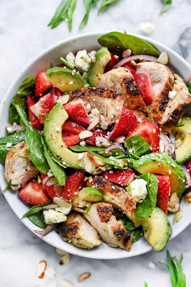 Best Dinner Salad Recipes - Strawberry Avocado Spinach Salad with Chicken - Easy Salads to Make for Quick and Healthy Dinners - Healthy Chicken, Egg, Vegetarian, Steak and Shrimp Salad Ideas - Summer Side Dishes, Hearty Filling Meals, and Low Carb Options #saladrecipes #dinnerideas #salads #healthyrecipes