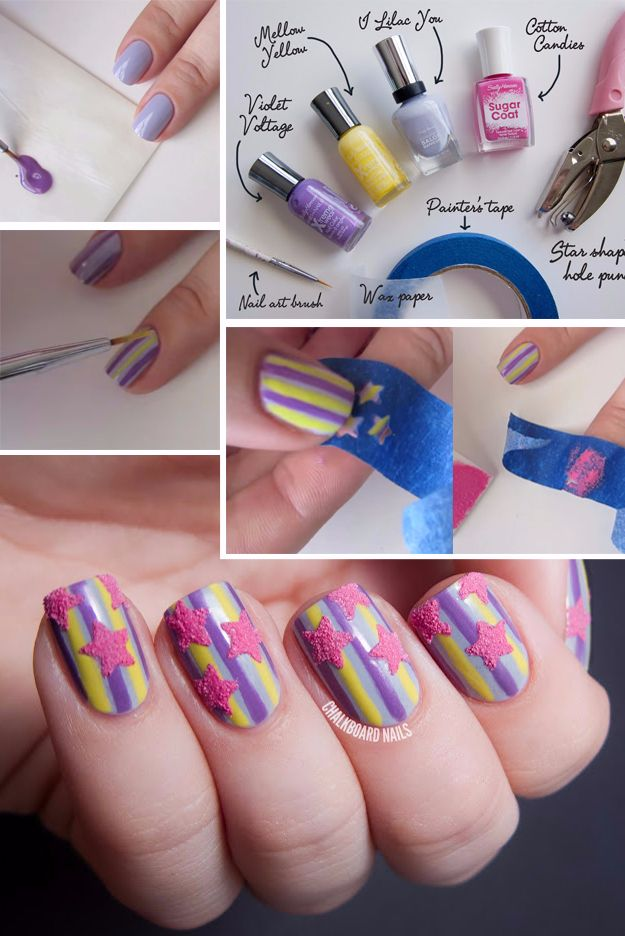 Quick Nail Art Ideas - Sugared Stars and Stripes Nail Art - Easy Step by Step Nail Designs With Tutorials and Instructions - Simple Photos Show You How To Get A Perfect Manicure at Home - Cool Beauty Tips and Tricks for Women and Teens