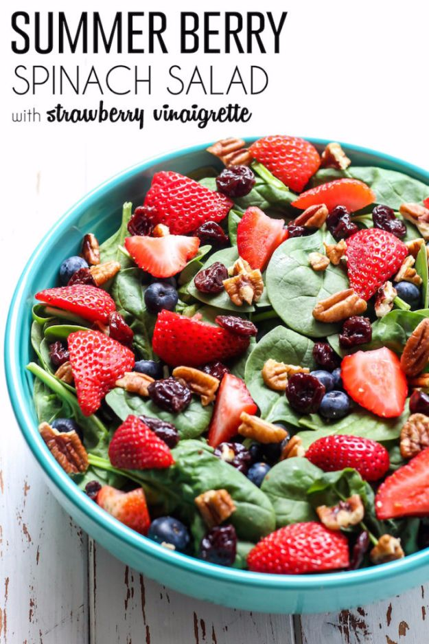 Best Dinner Salad Recipes - Summer Berry Spinach Salad - Easy Salads to Make for Quick and Healthy Dinners - Healthy Chicken, Egg, Vegetarian, Steak and Shrimp Salad Ideas - Summer Side Dishes, Hearty Filling Meals, and Low Carb Options #saladrecipes #dinnerideas #salads #healthyrecipes