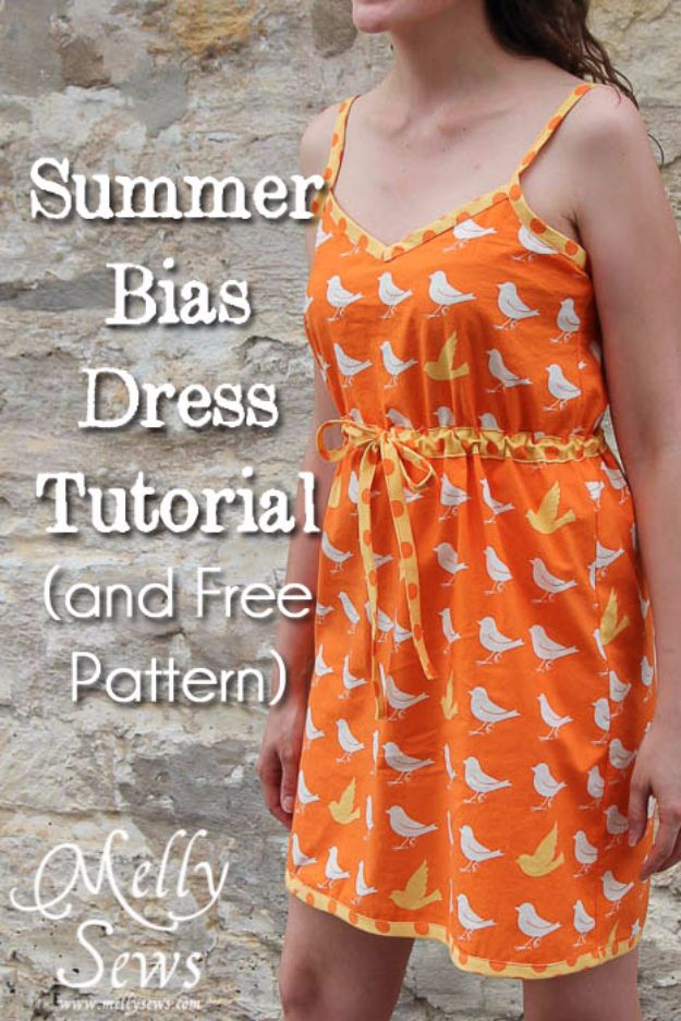 DIY Dresses to Sew for Summer - Summer Bias Dress - Best Free Patterns For Dress Ideas - Easy and Cheap Clothes to Make for Women and Teens - Step by Step Sewing Projects - Short, Summer, Winter, Fall, Inexpensive DIY Fashion http://diyjoy.com/sewing-dresses-patterns-summer