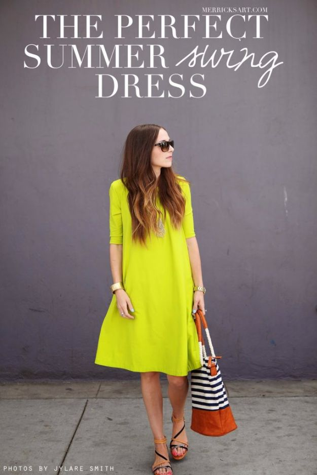 DIY Dresses to Sew for Summer - Summer Swing Dress - Best Free Patterns For Dress Ideas - Easy and Cheap Clothes to Make for Women and Teens - Step by Step Sewing Projects - Short, Summer, Winter, Fall, Inexpensive DIY Fashion http://diyjoy.com/sewing-dresses-patterns-summer