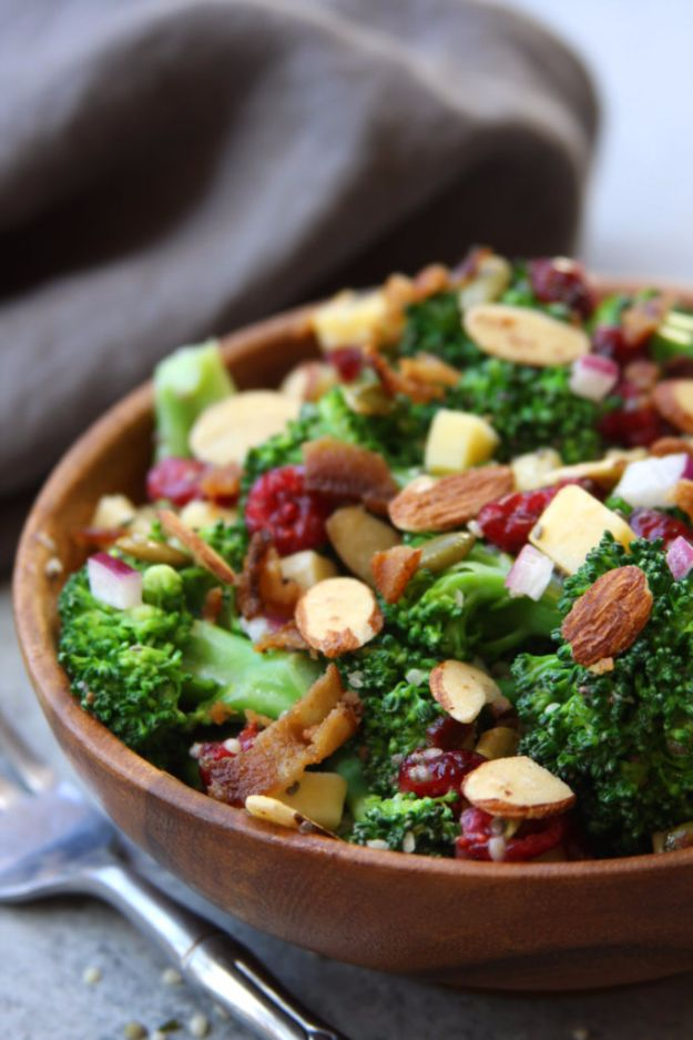 Best Dinner Salad Recipes - Super Healthy Broccoli Salad - Easy Salads to Make for Quick and Healthy Dinners - Healthy Chicken, Egg, Vegetarian, Steak and Shrimp Salad Ideas - Summer Side Dishes, Hearty Filling Meals, and Low Carb Options #saladrecipes #dinnerideas #salads #healthyrecipes
