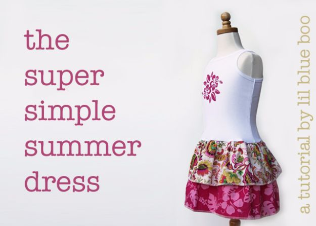 DIY Dresses to Sew for Summer - Super Simple Summer Dress - Best Free Patterns For Dress Ideas - Easy and Cheap Clothes to Make for Women and Teens - Step by Step Sewing Projects - Short, Summer, Winter, Fall, Inexpensive DIY Fashion http://diyjoy.com/sewing-dresses-patterns-summer
