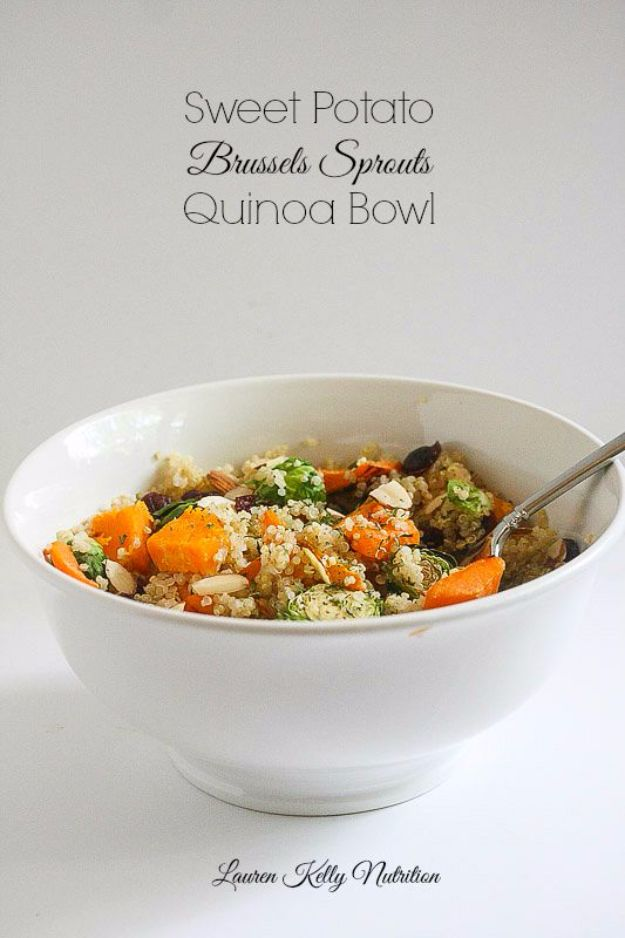 Best Brussel Sprout Recipes - Sweet Potato Brussels Sprouts Quinoa Bowl - Easy and Quick Delicious Ideas for Making Brussel Sprouts With Bacon, Roasted, Creamy, Healthy, Baked, Sauteed, Crockpot, Grilled, Shredded and Salad Recipe Ideas #recipes