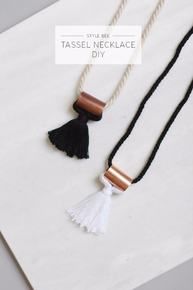 DIY Necklace Ideas - Tassel Necklace DIY - Easy Handmade Necklaces with Step by Step Tutorials - Pendant, Beads, Statement, Choker, Layered Boho, Chain and Simple Looks - Creative Jewlery Making Ideas for Women and Teens, Girls - Crafts and Cool Fashion Ideas for Women, Teens and Teenagers http://diyjoy.com/diy-necklaces