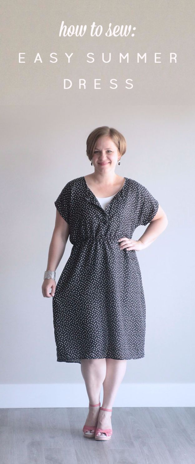 DIY Dresses to Sew for Summer - Tee Dress In A Woven Simple Summer Sew - Best Free Patterns For Dress Ideas - Easy and Cheap Clothes to Make for Women and Teens - Step by Step Sewing Projects - Short, Summer, Winter, Fall, Inexpensive DIY Fashion http://diyjoy.com/sewing-dresses-patterns-summer