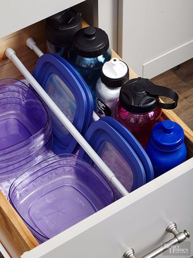 Organizing Ideas With Tension Rods - Tension Rods Inside A Cabinet - Quick DIY Do It Yourself Projects, Easy Ways To Save Money, Hacks You Can Do With A Tension Rod - Window Treatments, Small Spaces, Apartments, Storage