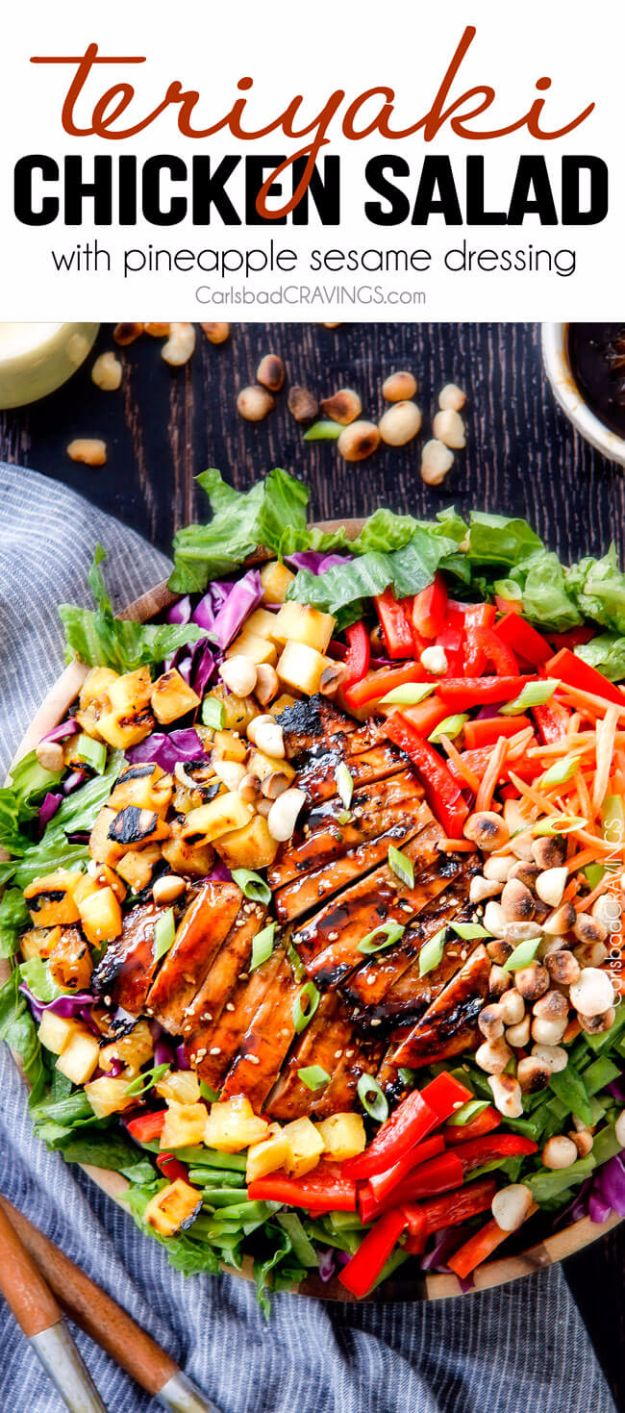 Best Dinner Salad Recipes - Teriyaki Chicken Salad With Pineapple Sesame Dressing - Easy Salads to Make for Quick and Healthy Dinners - Healthy Chicken, Egg, Vegetarian, Steak and Shrimp Salad Ideas - Summer Side Dishes, Hearty Filling Meals, and Low Carb Options #saladrecipes #dinnerideas #salads #healthyrecipes