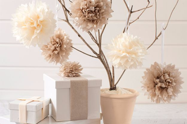 DIY Outdoors Wedding Ideas - Tissue Paper Pom Poms - Step by Step Tutorials and Projects Ideas for Summer Brides - Lighting, Mason Jar Centerpieces, Table Decor, Party Favors, Guestbook Ideas, Signs, Flowers, Banners, Tablecloth #wedding #diy