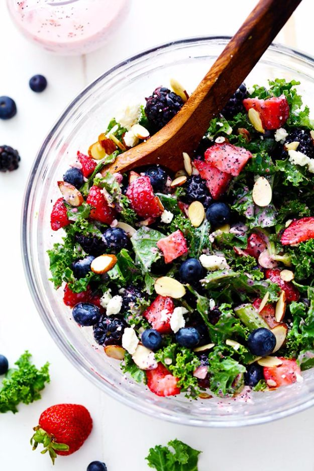 Best Dinner Salad Recipes - Triple Berry Kale Salad With Creamy Poppyseed Dressing - Easy Salads to Make for Quick and Healthy Dinners - Healthy Chicken, Egg, Vegetarian, Steak and Shrimp Salad Ideas - Summer Side Dishes, Hearty Filling Meals, and Low Carb Options #saladrecipes #dinnerideas #salads #healthyrecipes