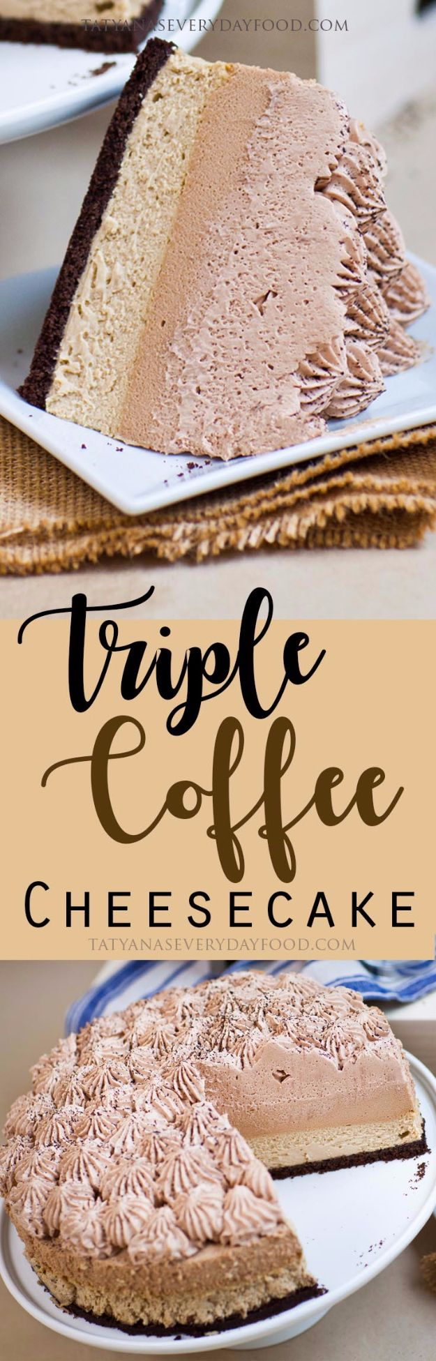 Best Cheesecake Recipes - Triple Coffee Cheesecake - Easy and Quick Recipe Ideas for Cheesecakes and Desserts - Chocolate, Simple Plain Classic, New York, Mini, Oreo, Lemon, Raspberry and Quick No Bake - Step by Step Instructions and Tutorials for Yummy Dessert