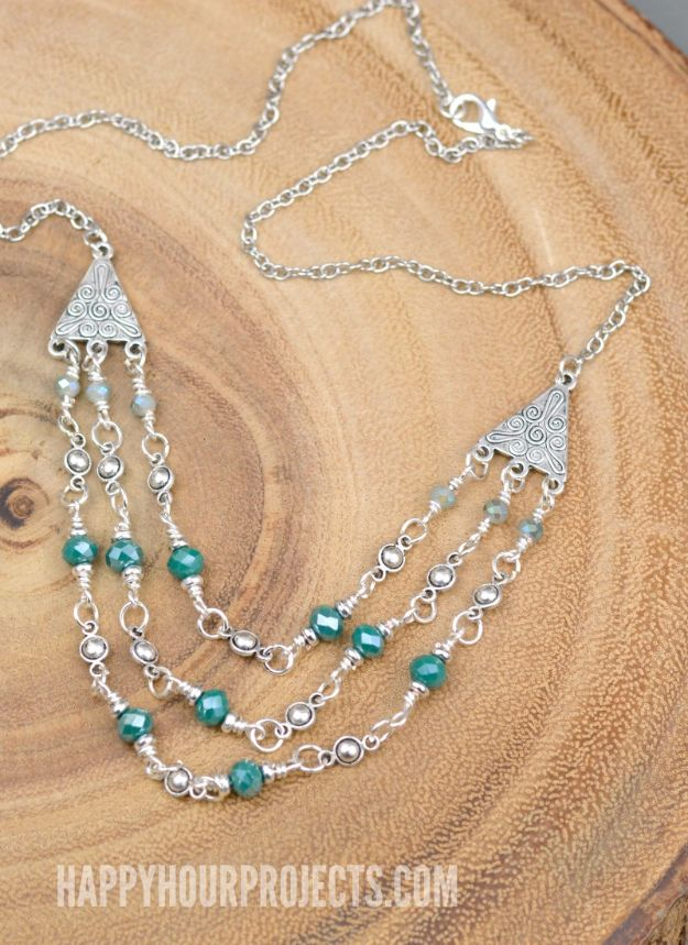 DIY Necklace Ideas - Triple Strand Crystal + Pewter DIY Necklace - Easy Handmade Necklaces with Step by Step Tutorials - Pendant, Beads, Statement, Choker, Layered Boho, Chain and Simple Looks - Creative Jewlery Making Ideas for Women and Teens, Girls - Crafts and Cool Fashion Ideas for Women, Teens and Teenagers #necklaces #diyjewelry #jewelrymaking #teencrafts