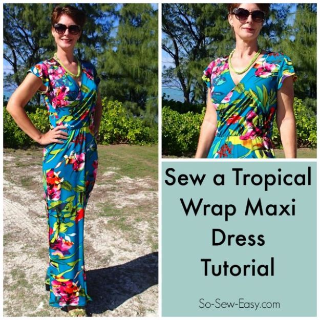DIY Dresses to Sew for Summer - Tropical Wrap Dress - Best Free Patterns For Dress Ideas - Easy and Cheap Clothes to Make for Women and Teens - Step by Step Sewing Projects - Short, Summer, Winter, Fall, Inexpensive DIY Fashion http://diyjoy.com/sewing-dresses-patterns-summer