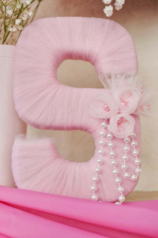DIY Wall Letters and Word Signs - Tulle Wrapped Letter - Initials Wall Art for Creative Home Decor Ideas - Cool Architectural Letter Projects and Wall Art Tutorials for Living Room Decor, Bedroom Ideas. Girl or Boy Nursery. Paint, Glitter, String Art, Easy Cardboard and Rustic Wooden Ideas - DIY Projects and Crafts by DIY JOY #diysigns #diyideas #diyhomedecor
