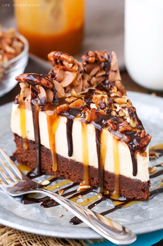 Best Cheesecake Recipes - Turtle Brownie Cheesecake - Easy and Quick Recipe Ideas for Cheesecakes and Desserts - Chocolate, Simple Plain Classic, New York, Mini, Oreo, Lemon, Raspberry and Quick No Bake - Step by Step Instructions and Tutorials for Yummy Dessert - DIY Projects and Crafts by DIY JOY http://diyjoy.com/best-cheesecake-recipes