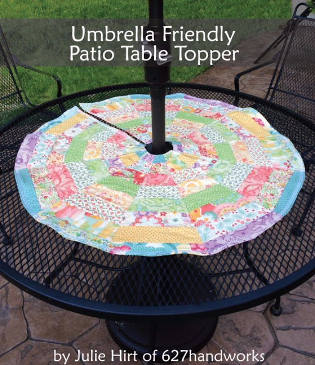 Sewing Projects for The Patio - Umbrella Friendly Patio Table Topper - Step by Step Instructions and Free Patterns for Cushions, Pillows, Seating, Sofa and Outdoor Patio Decor - Easy Sewing Tutorials for Beginners - Creative and Cheap Outdoor Ideas for Those Who Love to Sew - DIY Projects and Crafts by DIY JOY #diydecor #diyhomedecor #sewing