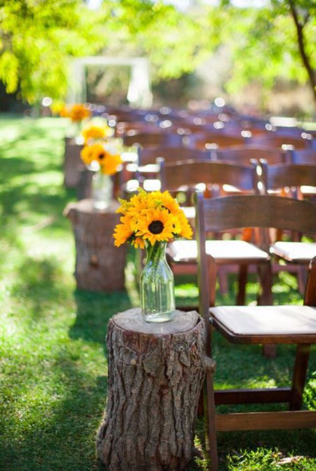 DIY Outdoors Wedding Ideas - Use Tree Stumps - Step by Step Tutorials and Projects Ideas for Summer Brides - Lighting, Mason Jar Centerpieces, Table Decor, Party Favors, Guestbook Ideas, Signs, Flowers, Banners, Tablecloth and Runners, Napkins, Seating and Lights - Cheap and Ideas DIY Decor for Weddings http://diyjoy.com/diy-outdoor-wedding