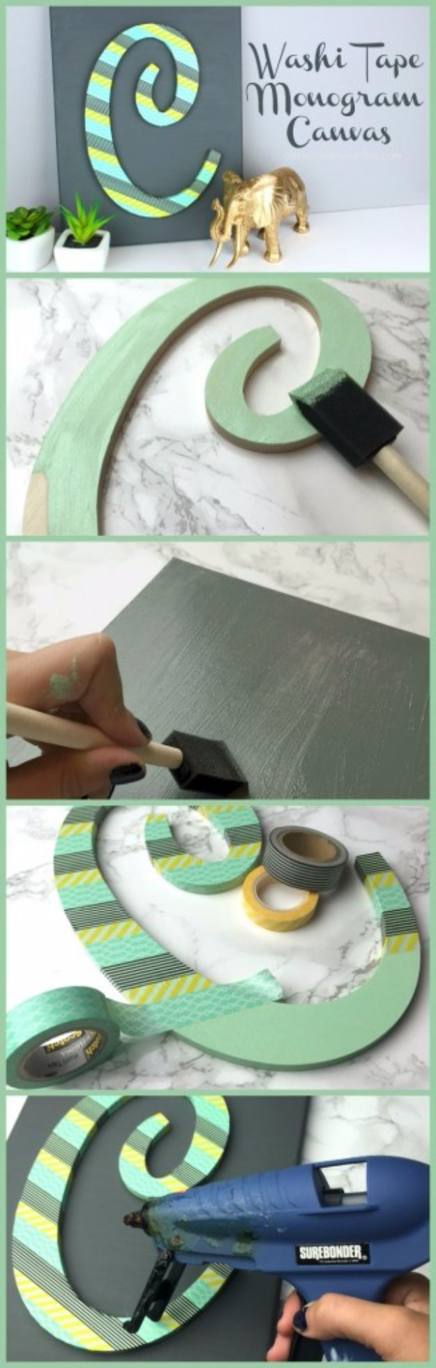 DIY Wall Letters and Word Signs - Washi Tape Monogram Canvas - Initials Wall Art for Creative Home Decor Ideas - Cool Architectural Letter Projects and Wall Art Tutorials for Living Room Decor, Bedroom Ideas. Girl or Boy Nursery. Paint, Glitter, String Art, Easy Cardboard and Rustic Wooden Ideas - DIY Projects and Crafts by DIY JOY http://diyjoy.com/diy-letter-word-signs