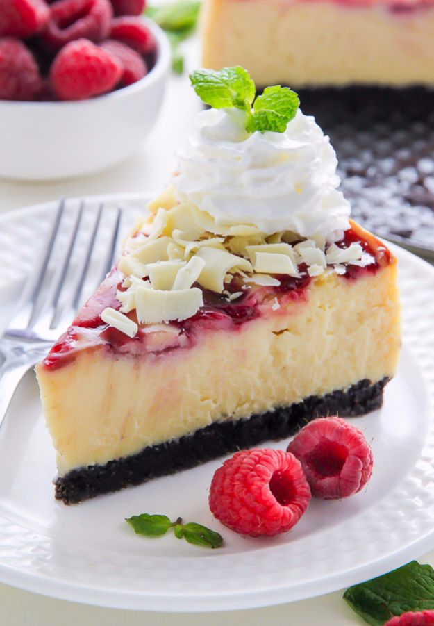 Best Cheesecake Recipes - White Chocolate Raspberry Cheesecake - Easy and Quick Recipe Ideas for Cheesecakes and Desserts - Chocolate, Simple Plain Classic, New York, Mini, Oreo, Lemon, Raspberry and Quick No Bake - Step by Step Instructions and Tutorials for Yummy Dessert