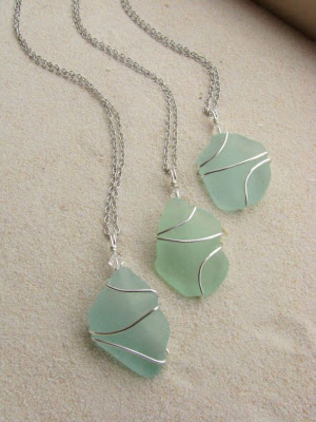 DIY Necklace Ideas - Wire Wrapped Sea Glass Necklace - Easy Handmade Necklaces with Step by Step Tutorials - Pendant, Beads, Statement, Choker, Layered Boho, Chain and Simple Looks - Creative Jewlery Making Ideas for Women and Teens, Girls - Crafts and Cool Fashion Ideas for Women, Teens and Teenagers #necklaces #diyjewelry #jewelrymaking #teencrafts