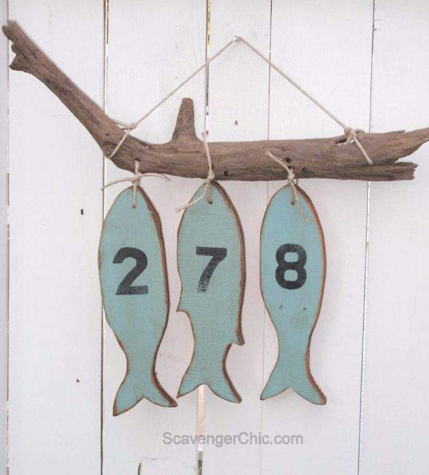 DIY House Numbers - Wooden Fish House Number - DIY Numbers To Put In Front Yard and At Front Door - Architectural Numbers and Creative Do It Yourself Projects for Making House Numbers - Easy Step by Step Tutorials and Project Ideas for Home Improvement on A Budget #homeimprovement #diyhomedecor