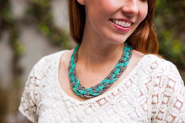 DIY Necklace Ideas - Woven Bead Statement Necklace - Easy Handmade Necklaces with Step by Step Tutorials - Pendant, Beads, Statement, Choker, Layered Boho, Chain and Simple Looks - Creative Jewlery Making Ideas for Women and Teens, Girls - Crafts and Cool Fashion Ideas for Women, Teens and Teenagers http://diyjoy.com/diy-necklaces