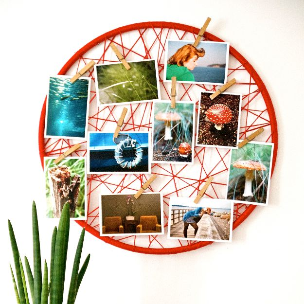 Tips and Tricks for Hanging Photos and Frames - Yarn And Hoop Photo Display - Step By Step Tutorials and Easy DIY Home Decor Projects for Decorating Walls - Cool Wall Art Ideas for Bedroom, Living Room, Gallery Walls - Creative and Cheap Ideas for Displaying Photos and Prints - DIY Projects and Crafts by DIY JOY #diydecor #decoratingideas