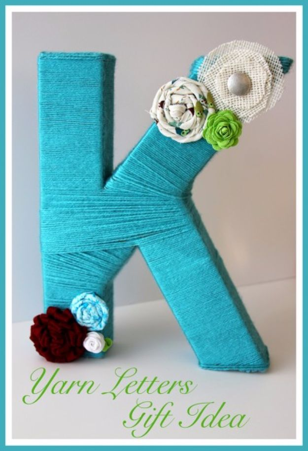 DIY Wall Letters and Word Signs - Yarn Letters - Initials Wall Art for Creative Home Decor Ideas - Cool Architectural Letter Projects and Wall Art Tutorials for Living Room Decor, Bedroom Ideas. Girl or Boy Nursery. Paint, Glitter, String Art, Easy Cardboard and Rustic Wooden Ideas - DIY Projects and Crafts by DIY JOY #diysigns #diyideas #diyhomedecor