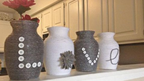 She Buys Dollar Store Vases And Wraps Yarn On Them. The Result Is Stunning (Watch!) | DIY Joy Projects and Crafts Ideas