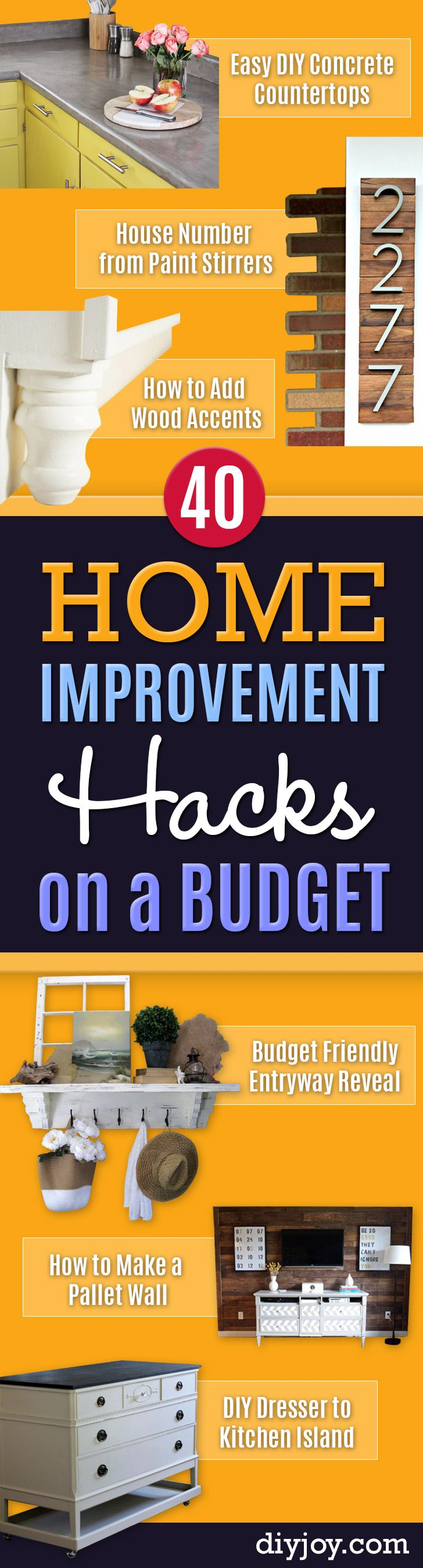 DIY Home Improvement On A Budget - Easy and Cheap Do It Yourself Tutorials for Updating and Renovating Your House Remodeling and Decorating Projects