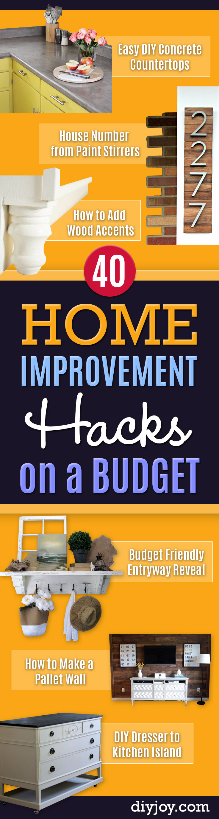 DIY Home Improvement On A Budget - Easy and Cheap Do It Yourself Tutorials for Updating and Renovating Your House - Home Decor Tips and Tricks, Remodeling and Decorating Hacks - DIY Projects and Crafts by DIY JOY #homeimprovement #diyhome #diyideas #homeimprovementideas #diy #homeimprovement #diyhome #diyideas #homeimprovementideas http://diyjoy.com/diy-home-improvement-ideas-budget