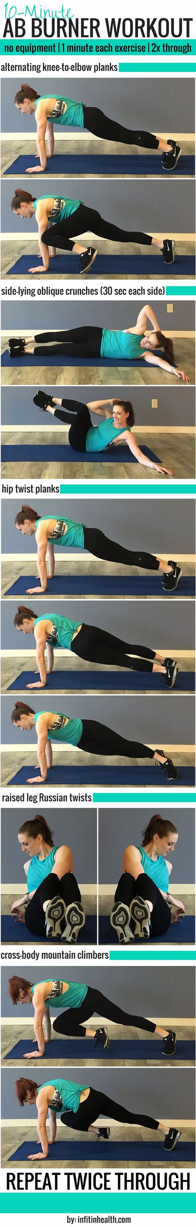 Best Quick At Home Workouts - 10 Minute Ab Burner Workout - Easy Tutorials and Work Out Ideas for Strength Training and Exercises - Step by Step Tutorials for Butt Workouts, Abs Tummy and Stomach, Legs, Arms, Chest and Back - Fast 5 and 10 Minute Workouts You Can Do On Your Lunch Break, In Car, in Hotel #exercise #health