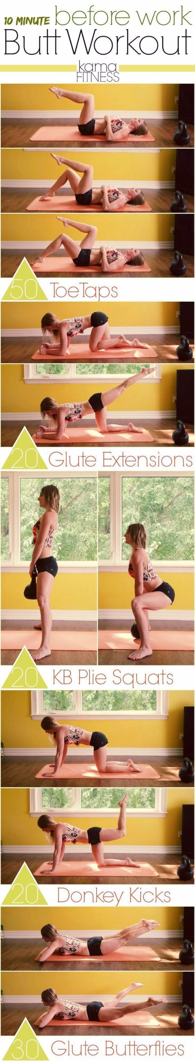 Best Quick At Home Workouts - 10 Minute Before work Butt workout - Easy Tutorials and Work Out Ideas for Strength Training and Exercises - Step by Step Tutorials for Butt Workouts, Abs Tummy and Stomach, Legs, Arms, Chest and Back - Fast 5 and 10 Minute Workouts You Can Do On Your Lunch Break, In Car, in Hotel #exercise #health