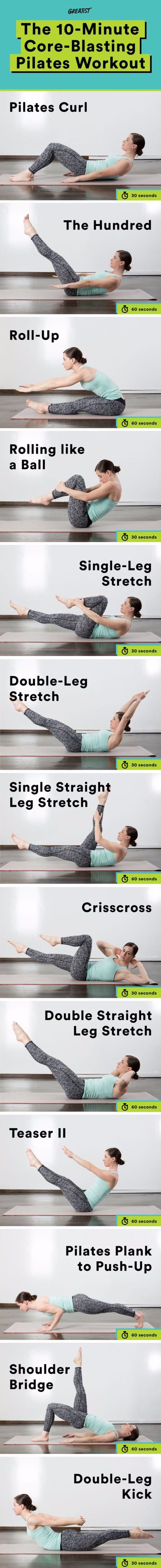 Best Quick At Home Workouts - 10-Minute Core-Blasting Pilates Workout - Easy Tutorials and Work Out Ideas for Strength Training and Exercises - Step by Step Tutorials for Butt Workouts, Abs Tummy and Stomach, Legs, Arms, Chest and Back - Fast 5 and 10 Minute Workouts You Can Do On Your Lunch Break, In Car, in Hotel #exercise #health