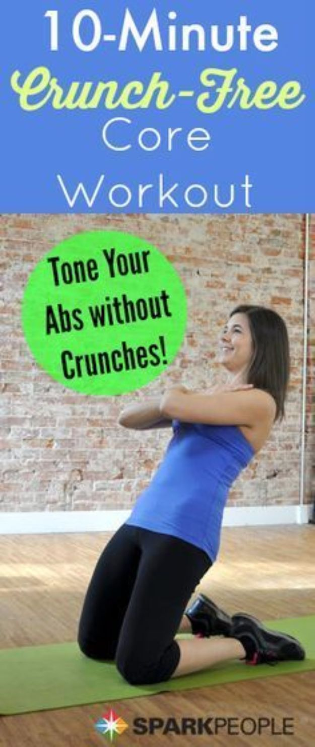 Best Quick At Home Workouts - 10-Minute Crunchless Core Workout - Easy Tutorials and Work Out Ideas for Strength Training and Exercises - Step by Step Tutorials for Butt Workouts, Abs Tummy and Stomach, Legs, Arms, Chest and Back - Fast 5 and 10 Minute Workouts You Can Do On Your Lunch Break, In Car, in Hotel #exercise #health