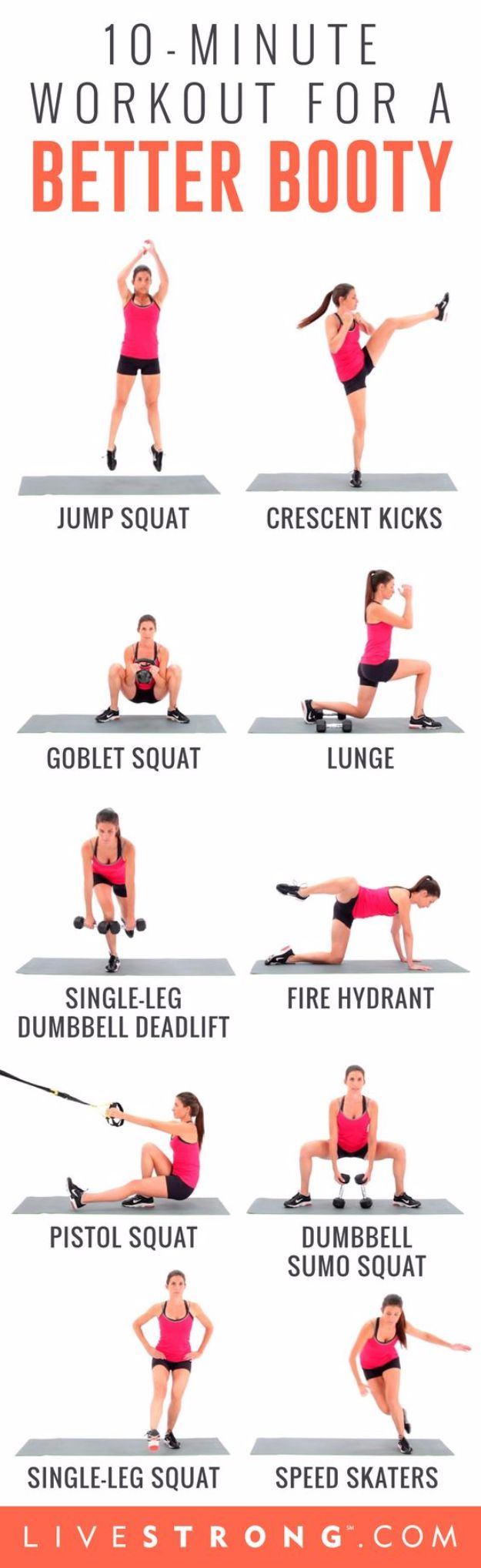 Best Quick At Home Workouts - 10-Minute Workout for a Better Booty - Easy Tutorials and Work Out Ideas for Strength Training and Exercises - Step by Step Tutorials for Butt Workouts, Abs Tummy and Stomach, Legs, Arms, Chest and Back - Fast 5 and 10 Minute Workouts You Can Do On Your Lunch Break, In Car, in Hotel #exercise #health