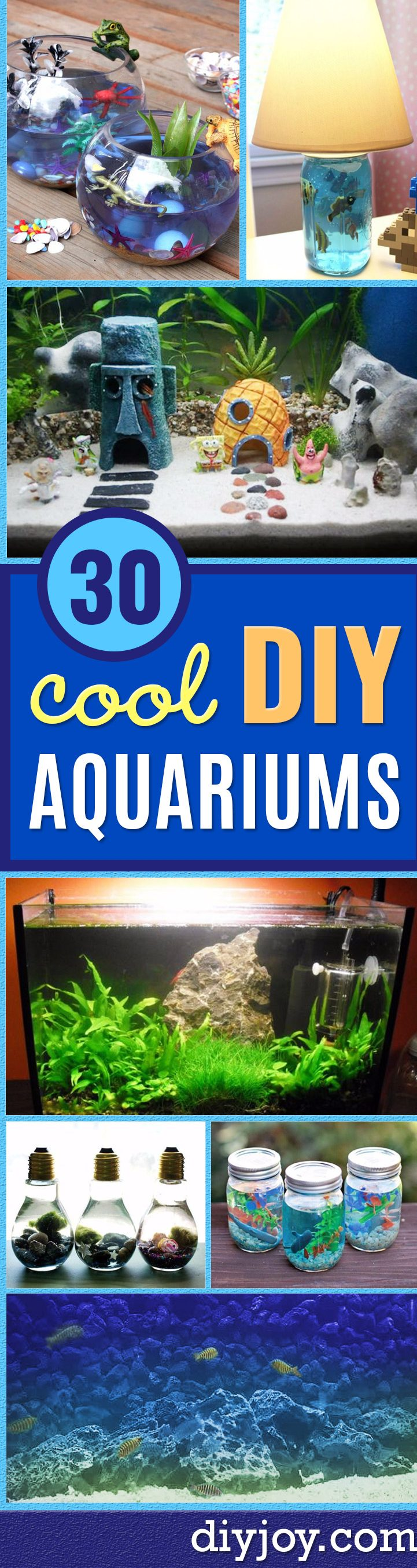DIY Aquarium Ideas - Cool and Easy Decorations for Tank Aquariums, Mason Jar, Wall and Stand Projects for Fish - Creative Background Ideas - Fun Tutorials for Kids to Make With Plants and Decor - Best Home Decor and Crafts by DIY JOY