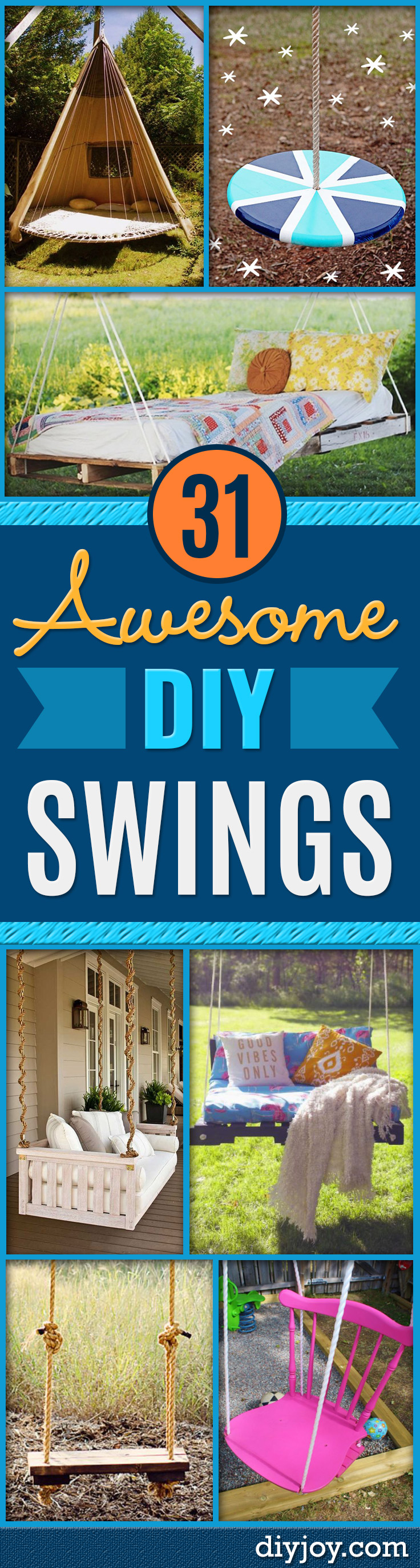 DIY Swings - Best Do It Yourself Swing Projects and Tutorials for Tire, Rocking, Hanging, Double Seat, Porch, Patio and Yard. Easy Ideas for Kids and Adults - Make The Best Backyard Ever This Summer With These Awesome Seating and Play Ideas for Swings - Creative Home Decor and Crafts by DIY JOY http://diyjoy.com/diy-swings