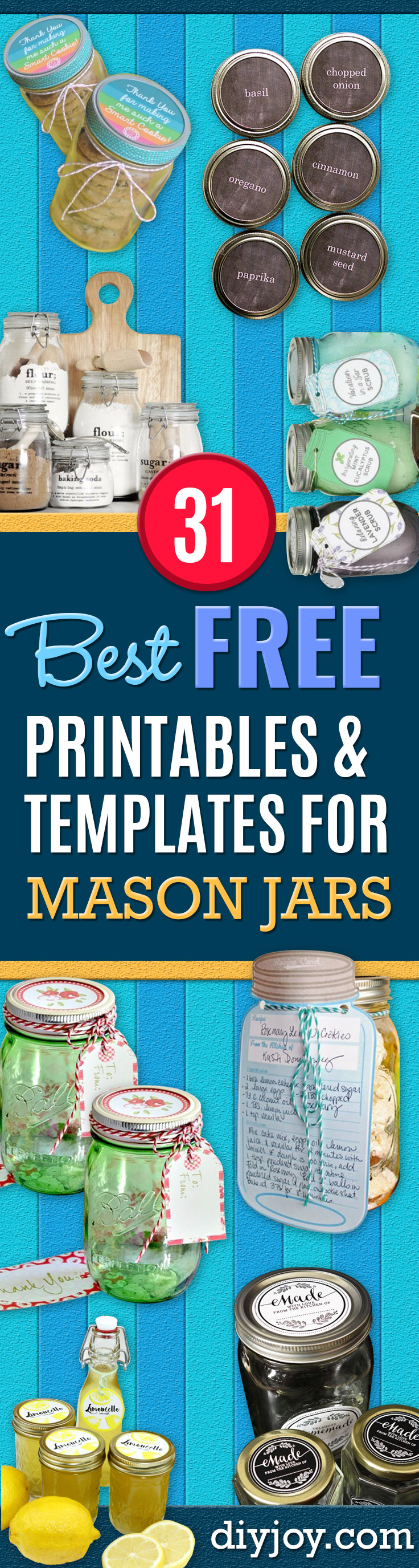 free printables for jars - mason jar printables free- printable tags and Printable Clip Art for Fun Mason Jar Gifts and Organization - Sugar scrub, Teacher Gifts, Valentines, Cookie Mixes, Party Favors