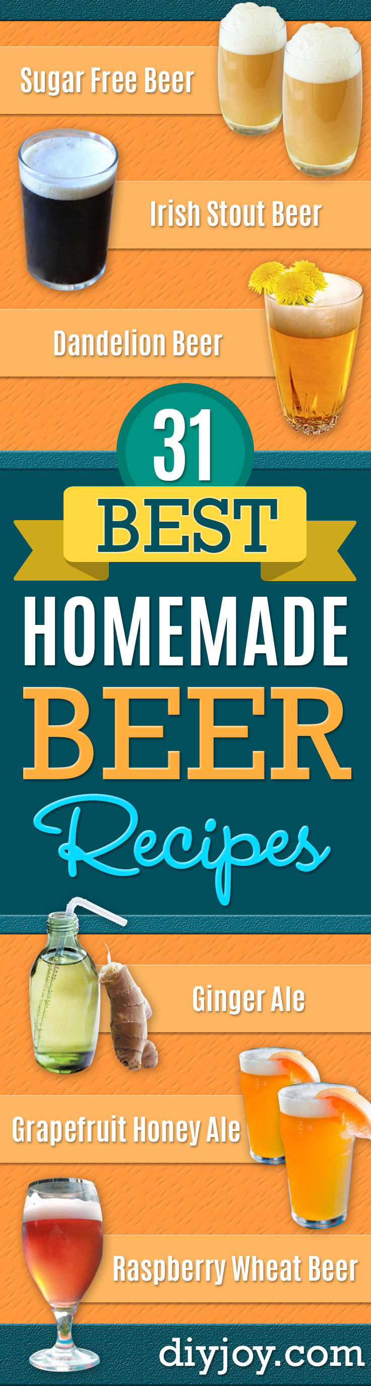 Best Homemade Beer Recipes - Easy Homebrew Drinks and Brewing Tutorials for Craft Beers Made at Home - IPA, Summer, Red, Lager and Ales - Instructions and Step by Step Tutorials for Making Beer at Home http://diyjoy.com/homemade-beer-recipes