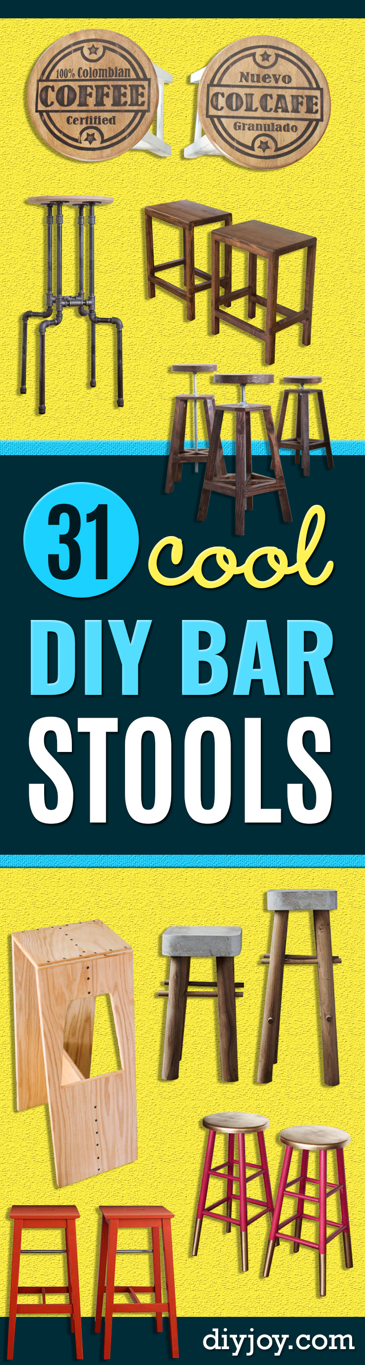 diy barstools - easy diy bar stools -cheap Ideas for Seating and Creative Home Decor - Do It Yourself Bar Stools for Modern, Rustic, Farmhouse, Shabby Chic, Industrial and Simple Classic Decor - Do It Yourself Dining Room Seating Complete With Step by Step Tutorials