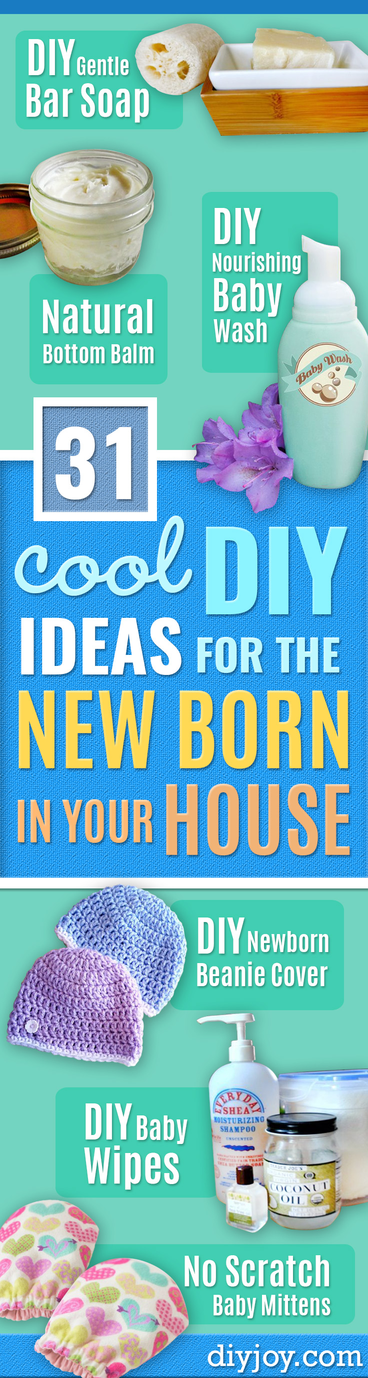 DIY Ideas for Newborn - Do It Yourself Projects for the New Baby Boy or Girl - Nursery and Room Decor, Gear and Products, Safety Ideas and Other Practical Items Make Great DIY Baby Gifts