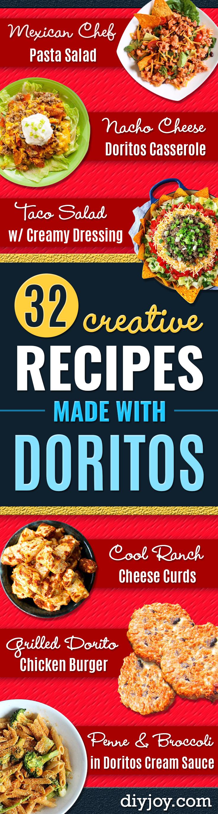 DIY Recipes Made With Doritos - Best Dorito Recipes for Casserole, Taco Salad, Chicken Dinners, Beef Casseroles, Nachos, Easy Cool Ranch Meals and Ideas for Dips, Snacks and Kids Recipe Tutorials - Quick Lunch Ideas and Recipes for Parties http://diyjoy.com/recipe-ideas-doritos