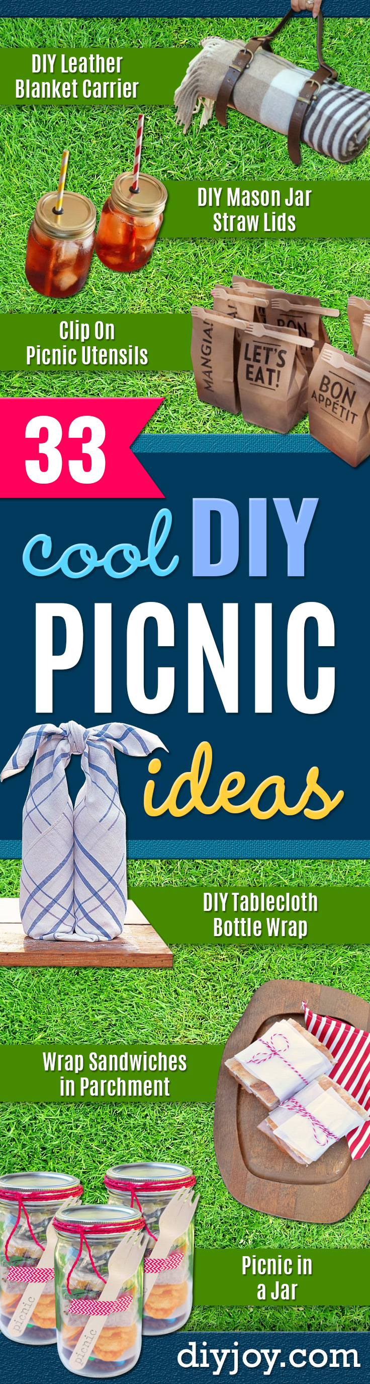 DIY Picnic Ideas - Cool Recipes and Tips for Picnics and Meals Outdoors - Recipes, Easy Sandwich Wraps, Blankets, Baskets and Carriers to Make for Fun Family Outings and Romantic Date Ideas - Mason Jar Drinks, Snack Holders, Utensil Caddy and Picnic Hacks