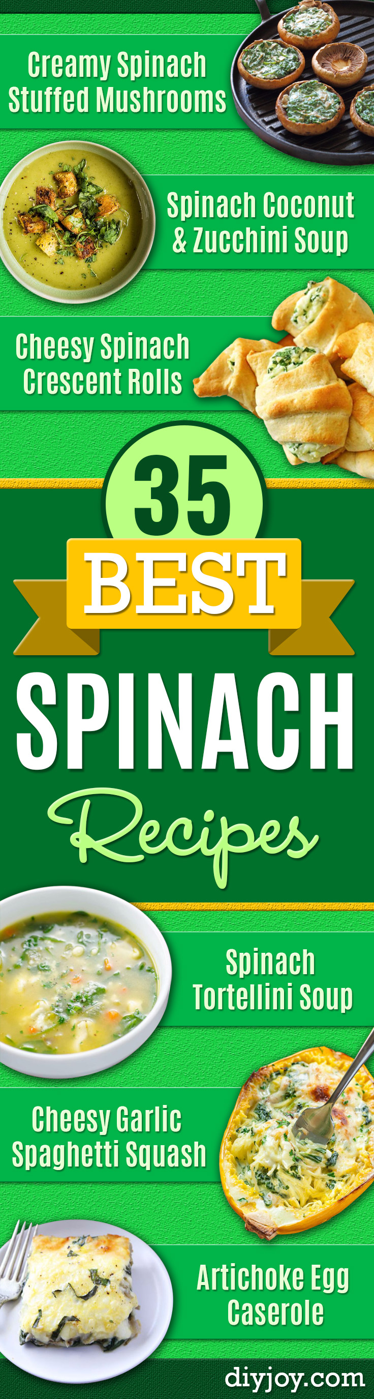 Best Spinach Recipes - Easy, Healthy Lowfat Recipe Ideas for Dinner, Salads, Lunches, Sides, Smoothies and Even Dessert - Qucik and Creative Ideas for Vegetables  - Cheesy, Creamed, Country Style Favorites for Family and For Kids http://diyjoy.com/best-spinach-recipes