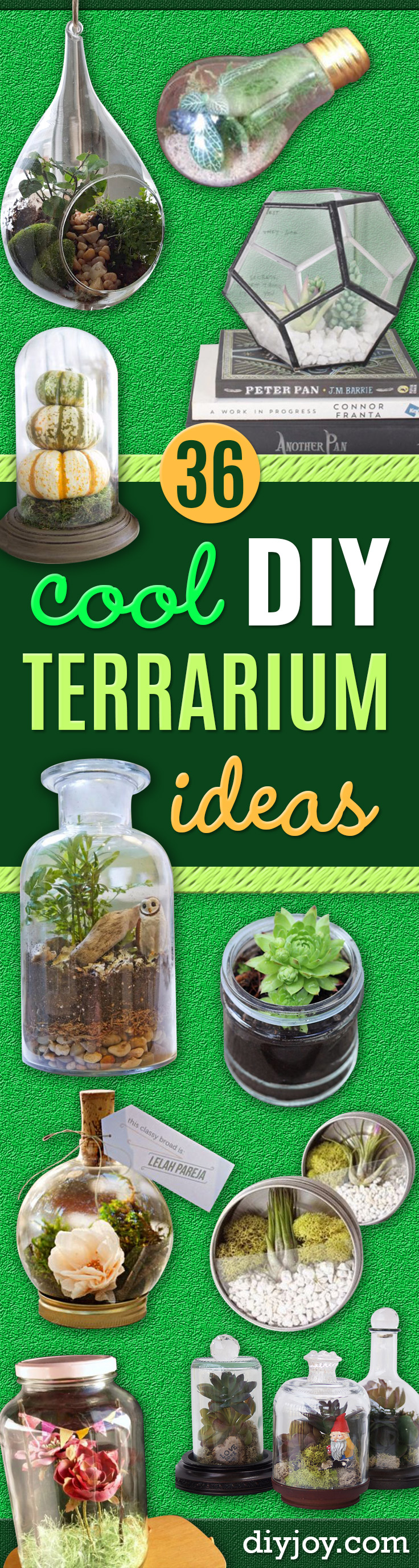 DIY Terrarium Ideas - Cool Terrariums and Crafts With Mason Jars, Succulents, Wood, Geometric Designs and Reptile, Acquarium - Easy DIY Terrariums for Adults and Kids To Make at Home http://diyjoy.com/diy-terrarium-ideas