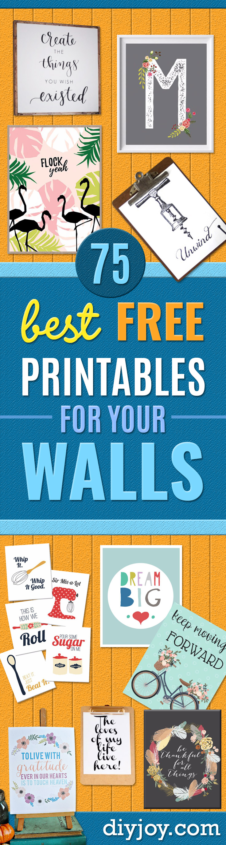 free printables - wall art ideas to print - Free Printable Ideas for DIY Wall Art Home and Bedroom Decor and room decorating idea