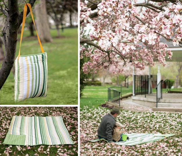 DIY Picnic Ideas - All In One Picnic Blanket Tote - Cool Recipes and Tips for Picnics and Meals Outdoors - Recipes, Easy Sandwich Wraps, Blankets, Baskets and Carriers to Make for Fun Family Outings and Romantic Date Ideas - Mason Jar Drinks, Snack Holders, Utensil Caddy and Picnic Hacks
