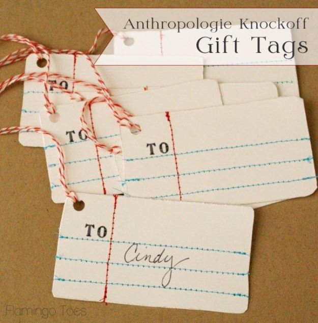 Homemade Gift Cards and Tags - Anthropologie Knock Off Gift Tags - Easy and Cheap Ideas for Creative Handmade Birthday, Christmas, Mothers Day and Father Day Cards - Cute Holiday Gift Tags, Dollar Store Crafts, Homemade DIY Gifts and Gift Card Holders You Can Make at Home - Fun Crafts for Adults, Kids and Teens http://diyjoy.com/homemade-gift-cards-tags